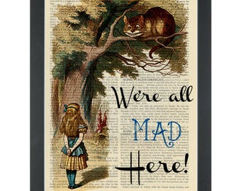 Alice in wonderland We're all mad here Cheshire cat in the tree Dictionary Art Print