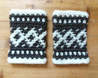 Diamond Jacquard Crochet Fingerless Mittens
