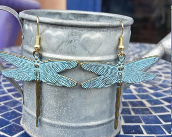 Blue patina dragonfly earrings