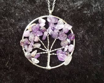 Amethyst stone Tree of Life Pendant Necklace