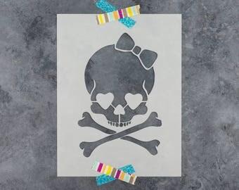 Girly Skull Stencil - Reusable DIY Craft Skull Stencils for Women