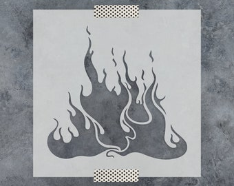 Flames Stencil - Reusable DIY Craft Stencils of Flames