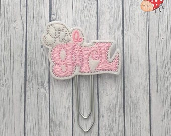 It's a girl planner clip, paperclip, embroidered, office supplies, planner accessory, organiser accessories, pink, paperwork, study