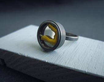 Oxidised Restorative ring. Broken mirror repaired in the kintsugi style set in recycled silver completes this recovery ring