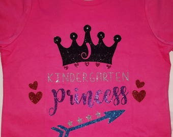 Kindergarten Princess Personalized with Initial T-shirt, Kindergarten Tee, Kindergarten Gift