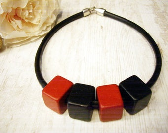Big Bold Chunky Necklace Ceramic Necklace Red Black Beaded Artisan Beads Necklace Big Beads Big beaded Necklace Unusual Necklace