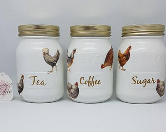 Set of 3, Kilner, Emma Bridgewater Hens Tea, Coffee, Sugar Kitchen Canisters , White/Gold, Hand Painted
