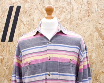 Vintage Striped Long Sleeved Woven Shirt Size - Large