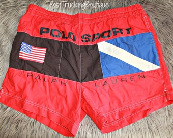 Vintage Polo sport Ralph Lauren spell out flag lined swim trunks shorts size L