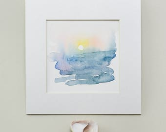 Original Watercolor, Sunrise, Sunset, Seascape, Painting