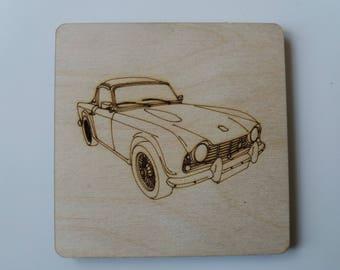 Triumph TR4 Coaster - Etched wood