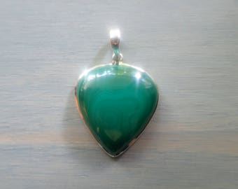 Green Malachite Inverted teardrop pendant in Sterling Silver