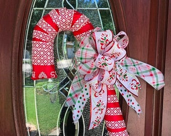 25% OFF Candy cane ribbon wreath, candy cane door decor, Candy cane wreath, candy cane decor, Christmas candy cane, Christmas wreath,