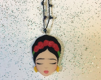 Frida Kahlo pendant red roses on crochet necklace, Zoownatas