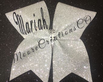 Glitter name cheer bow