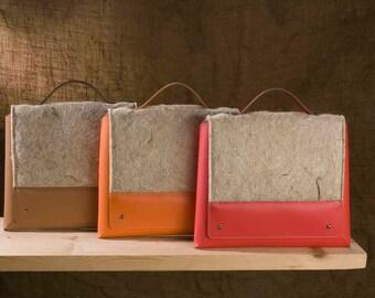 Raw Hemp fiber handbag and recycled leather-raw cannabis handbaged and recycled leather
