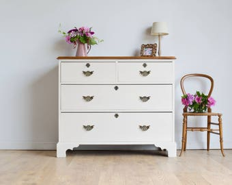 Large Antique Victorian Mahogany Chest of Drawers Painted in Farrow & Ball