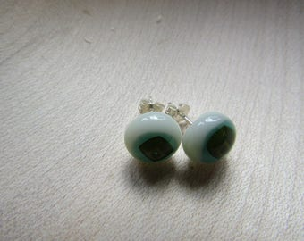 Green stud earrings with sterling silver pins and backs