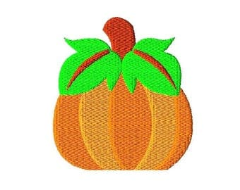 Pumpkin Embroidery Design, Filled Stitch Pumpkin Embroidery Design, Fall Embroidery Designs, Autumn Embroidery Designs