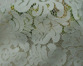 White Flower Eyelash Lace Fabric Lace Trim 59.05 Inches Wide 1.64 Yards/ Craft Supplies, WL1431