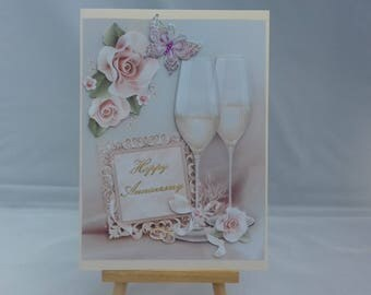 Anniversary card - Champagne glasses and flowers
