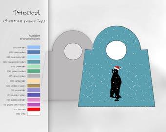 Christmas paper bags, DIY, printable, Bear, diy Christmas gift packaging, gift packaging, Christmas art, holiday decor, box, blue, petrol