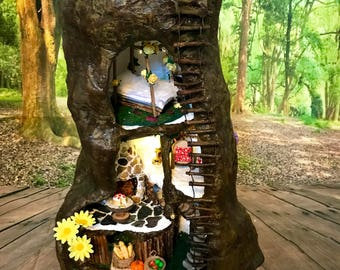 DAINTY DWELLING  Fairy House, dolls house, mouse house, tree trunk house for fairies, pixies and woodland folk. Handmade fairy houses.