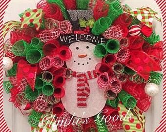 Ready to SHIP! SALE Snowman Wreath, Christmas Wreath, Mesh Snowman Wreath, Snowman Door Hanger, Snowman Decor, Winter Wreath, Welcome Wreath