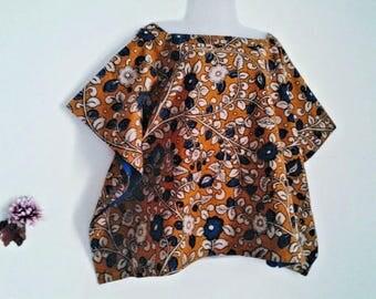 Minimalist mini short Kaftan/Hand block/KALAMKARI print/India/Boheme/Tunic/Free size/S/M/L/Boho/blouse/cotton/Made in India