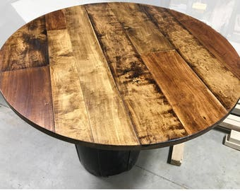 Round Table Top | Maple Plank Table Top | Rustic Wood Table Top | Round  Rustic