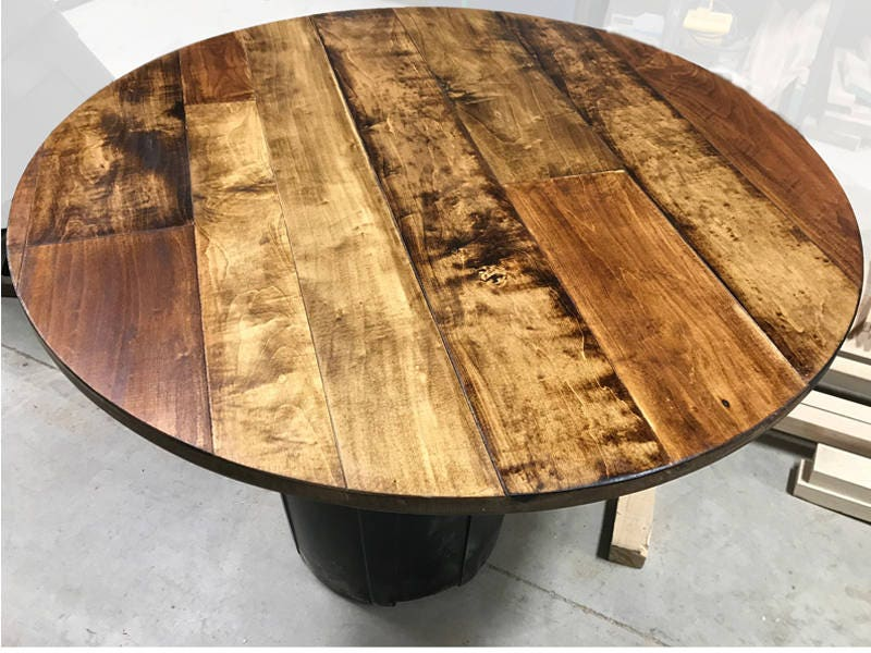 Small Round Rustic Side Tables: Round Table Top Maple Plank Table Top Rustic Wood Table