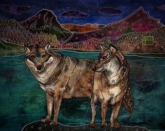 WOLF LOVE 8x11 Fine Art Print // Wolves Art Print, Wolf Illustration, Wolf Couple, Whimsical Art, Wolf Wall Art, Wolf Lover Gift, Wildlife