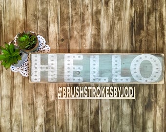 Hello, hello sign, rustic wood sign, handpainted wooden signs, wooden sign, wooden decor, rustic wooden sign, rustic wood decor, handpainted