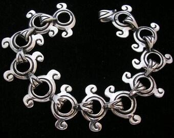 Unique bracelet for women, Taxco Silver Bracelet, Handmade Silver Artisan Bracelet, 100% solid silver jewelry, Oxidized bracelet 925 silver