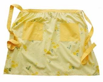 Yellow Rose Print Vintage Fabric Half Apron