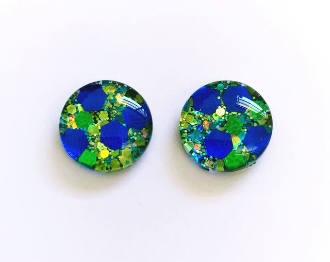 The 'Envy' Glass Glitter Earring Studs