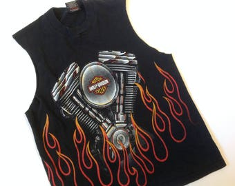 Vintage Harley-Davidson Harley sleeveless all-over flame and engine print tee