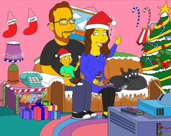Custom Christmas Caricature, Christmas Family, Christmas Portrait, Christmas Drawing, Christmas Illustration, Personalized