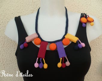 Necklace and earrings textile rectangle and round multicolored