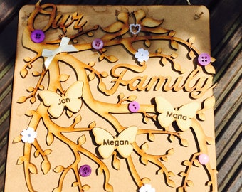 Family tree branch, butterflies, engraved, personalised gift, family, hang, plaque, mdf