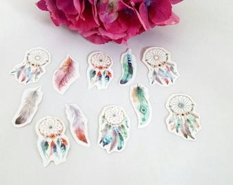 Dream Catcher Die Cut Stickers// Feather Planner Stickers// Journal Stickers// Scrapbook Stickers