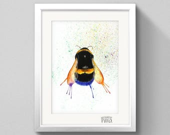 A4 Bumble Bee Watercolour Print