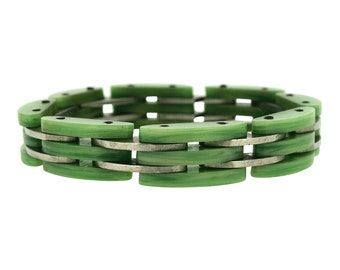 1930s Art Deco Green Galalith and Chrome Bracelet