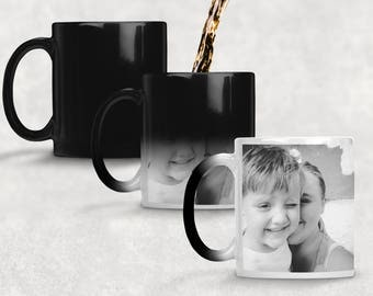Add a photo, colour changing photo mug, magic mug, collage picture mug personalised photo mug, unique coffee mug, heat changing mug