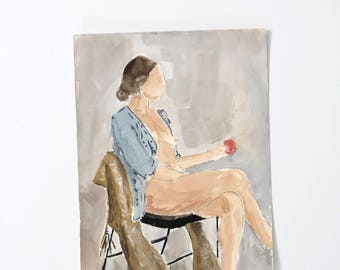 Lady with Apple / Figure Painting / Original Watercolor / Gouache /  Naked Lady Art / Nude Drawing