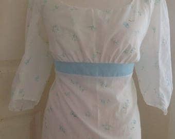 "Regency, jane Austen day dress white cotton lawn with pale blue rose print various sizes 36"" - 44"" bust sz 12-20"