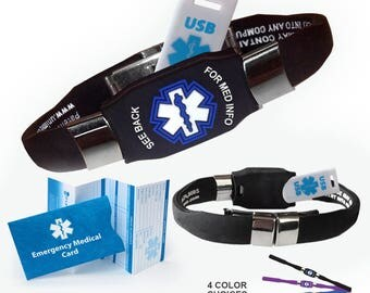 Medical ID Bracelet with Medical Insignia and Removable 2GB USB - Adjustable - Waterproof and 4 colors to choose from!