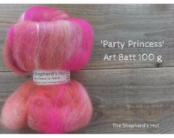 Mixed Wool Art Batt 'Party Princess' 100 g  3.5 oz
