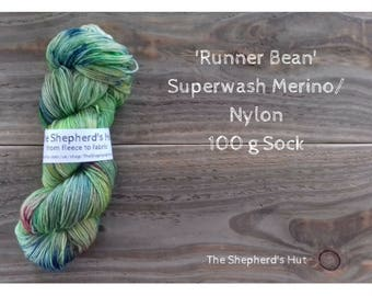 Superwash Merino/Nylon 80/20 Sock yarn 100g in 'Runner Bean' colour way.