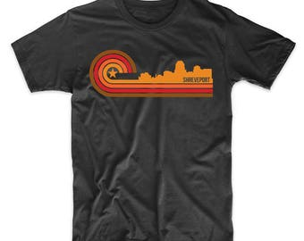 Retro Style Shreveport Louisiana Skyline T-Shirt
